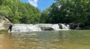 Swim At The Bottom Of A 100-Foot-Wide Waterfall After The 2-Mile Hike To Riley Moore Falls In South Carolina