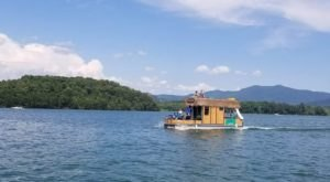 Turn Georgia's Lake Chatuge Into Your Own Oasis By Renting A Motorized Tiki Bar