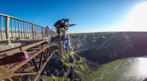 Leap From Idaho's 486-Foot-Tall Perrine Bridge Into The Canyon Below With Tandem BASE