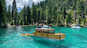 Turn Northern California's Lake Tahoe Into Your Own Oasis By Renting A Motorized Tiki Boat