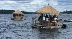Turn New Hampshire's Lake Winnipesaukee Into Your Own Oasis By Renting A Motorized Tiki Bar