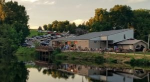 Dine While Overlooking A Waterfall At Bluff Lake Catfish Farm In Iowa