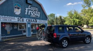 Step Up To The Little Blue Building For Tasty Treats From Cap'n Frosty Ice Cream In Michigan
