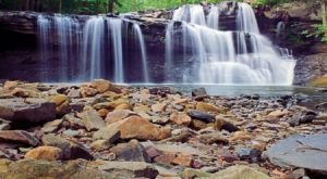 The Shallow Cave Beach Behind This Rushing West Virginia Waterfall Is A Cool, Refreshing Hideaway