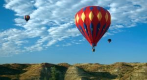 Witness Hot Air Balloons Floating Over The North Dakota Badlands During This Annual Event