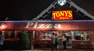 The Pizza At Tony's In Louisiana Eatery Is Bigger Than The Table