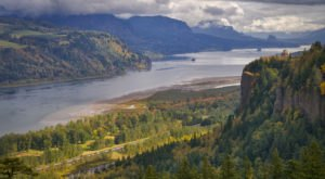 The Mighty Columbia River Travels Through Oregon 300 Miles To The Sea
