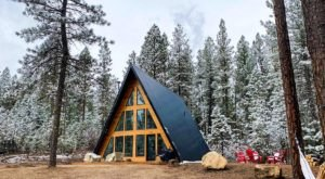 This Mountain A-Frame Cabin In Garden Valley, Idaho Is Perfectly Cozy For A Winter Weekend