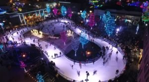 The Ice Skating Rink At Indian Creek Plaza In Idaho Is Surrounded By Dazzling Holiday Lights