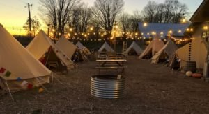 Cozy Up And Sip Drinks In A Private Tent At Base Camp Iron Fish In Michigan