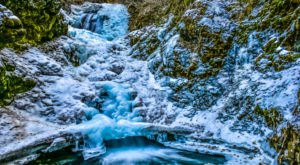 Walk Through A Snowy Alaskan Wonderland To Get To A Frozen Waterfall On The Thunderbird Falls Trail