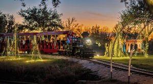 Watch Thousands Of Holiday Lights Whirl By In An Open-Air Coach On The Christmas Train In Texas