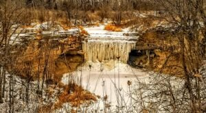 The Frozen Waterfall At Fonferek's Glen In Wisconsin Is A Must-See This Winter