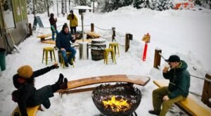 Cozy Up Around The Fire In Girdwood Brewing Company's Beer Garden This Winter In Alaska