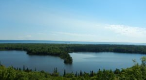 You Can See All The Way To Canada From The Breathtaking Spectacle Lake Overlook In Michigan