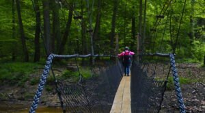 Walk Across A Suspension Bridge On The Hemlock Bridge Trail In Ohio