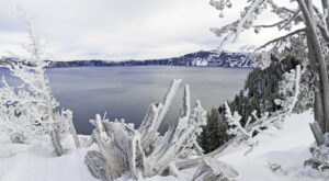 A Visit To Oregon's Crater Lake National Park Is A Magical Wintertime Experience