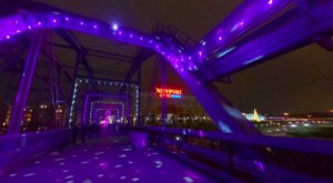 Stroll Across An Illuminated Bridge And River Walk At Winter Nights, River Lights In Kentucky