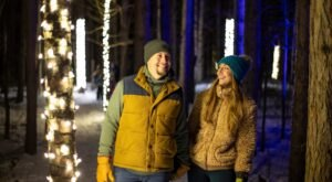 Walk Among Glowing Lights On Michigan's Enchanted Trail, Which Leads To A Rustic Yurt