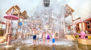 Stand Under A 600-Gallon Tipping Bucket At Jolly Mon Indoor Water Park In Missouri, A Perfect Winter Retreat