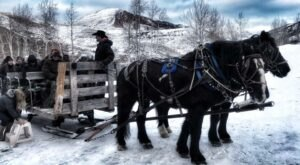 Take a Charming Ride Through Wintry Woods With A Sleigh Ride At Mill Iron Ranch In Wyoming