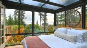 Nature Surrounds You When You Sleep In The Atrium Of This Pretty Oregon Chalet