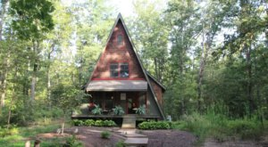 Stay The Night Inside This Cozy A-Frame Rental Cabin In Virginia Built Almost Entirely Out Of Recycled Materials