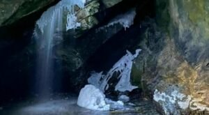 This Snowy Utah Trail Leads You To A Cave With A Frozen Waterfall