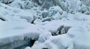 Travel Through A Winter Wonderland To Get To A Frozen Waterfall On The South Fork Falls Trail In Alaska