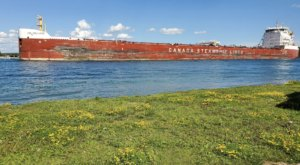 Watch Great Lakes Freighters Float By When You Visit Rotary Island Park In Michigan