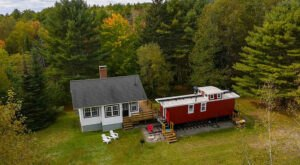 Spend The Night In An Authentic 1800s Farmhouse & Railroad Caboose In Maine's Midcoast