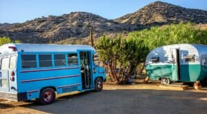 Book A Stay At This Converted Retro School Bus With A Pool In Southern California's Peaceful Desert