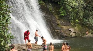 Take A Short 0.2-Mile Hike To A Fun Little Waterfall Swimming Hole In North Carolina