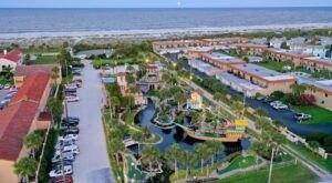 Fiesta Falls Mini Golf In Florida Offers Beach Views, Waterfalls, & A Spanish Ship Replica