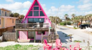 This Pink A-Frame Beach Rental In Florida Has Vacation Destination Written All Over It