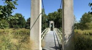Walk Across A Picturesque Suspension Bridge On Picnic Island Loop Trail In Missouri
