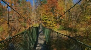 Walk Across A Suspension Bridge On Keystone College Trail In Pennsylvania