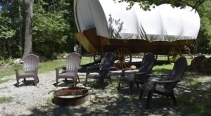 Skip The Tents And Go Camping Like It's The 1800s In This Cozy Covered Wagon In New Jersey