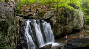 Hike Just Over A Mile To This Spectacular Waterfall Swimming Hole In Maryland