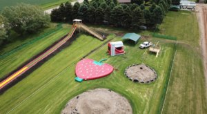 The Giant New Strawberry Shaped Trampoline At Getting's Garden In Iowa Is As Fun As It Sounds