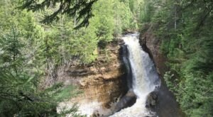 Hike Less Than A Mile To This Spectacular Waterfall Overlook In Michigan