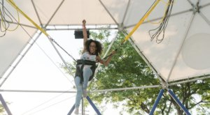 Launch 25 Feet Into The Air When You Ride The Euro Bungy At Midway Sports In Michigan