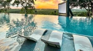 Watch Movies While Splashing Around In An Infinity Pool Overlooking The Texas Hill Country This Summer