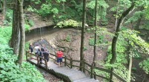 Hike Less Than A Mile To This Spectacular Waterfall Overhang In Iowa