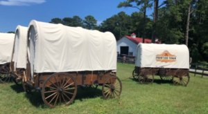 Frontier Town In Maryland Offers Covered Wagon Camping And It's A Unique Overnight Adventure
