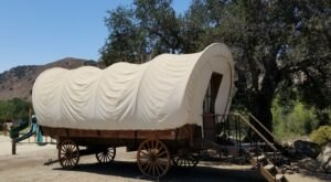 Stay The Night In A Old-Fashioned Covered Wagon At Ventura Ranch KOA Holiday In Southern California