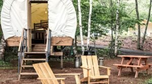 Stay The Night In An Old-Fashioned Covered Wagon At Sandy Pines Campground In Maine