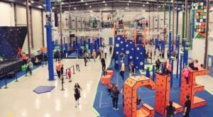 Have A Blast At An Adult Playground With A Massive Climbing Wall, Zip Line, And Drinks At Play CLE In Ohio