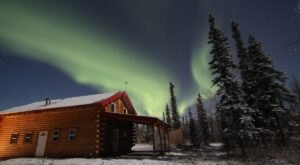 Spend Your Night Gazing At The Aurora Borealis From This Alaskan Log Cabin