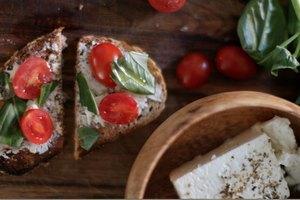 Tartines: Tomato, Feta & Basil